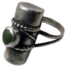 Handmade Sterling Modernist Ring With Green Stone