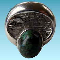 Mid-Century Modernist Sterling Ring Eilat Stone