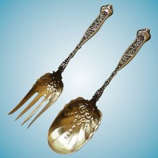 Whiting Sterling Salad Set Dresden Pattern Pat. 1896