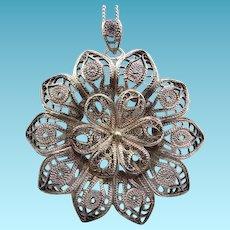 Vintage 800 Silver Filigree Pendant & Chain