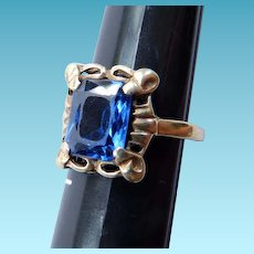 Art Deco 14K YG Synthetic Sapphire Ring