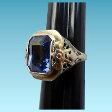Art Deco 14K Spinel Ring White & Yellow Gold