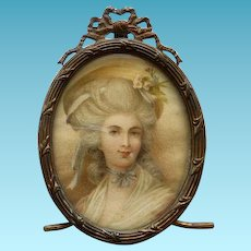 19th Century Portrait Miniature in Stand Up French Frame