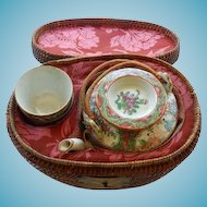 Antique Chinese Rose Medallion Tea Pot & 2 Cups In Wicker Case