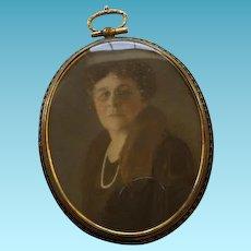 Art Deco Framed Photo of Mature Woman