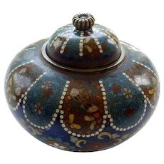 Japanese Cloisonne Meiji Period Covered Jar