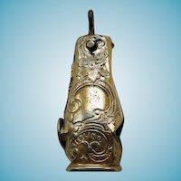 Victorian Sterling Vermeil Cigar Cutter Fob Pendant