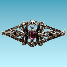 Edwardian Sterling Silver Brooch/Pin With Amethyst & Crystals