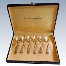 One Dozen 800 Silver Italian Demi-Tasse Spoons Boxed