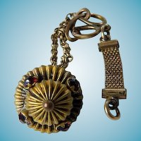 Victorian Watch Fob With Red Stones