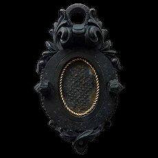 Antique Gutta Percha  Pendant With Woven Hair