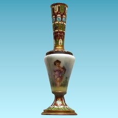 French 19thC Champleve/Cloisonne Hand Painted Porcelain Bud Vase