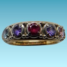 Vintage 14K Yg Multi Gemstone Ring