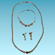 Vintage 14K YG 3 Piece Multi Gemstone Purure