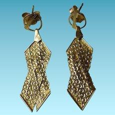 Vintage 14K YG Pierced Earrings