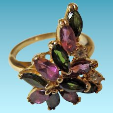 14K YG Pink & Green Tourmaline Ring With Diamonds