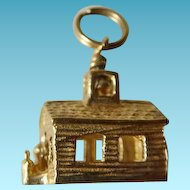 14K 3D One Room School House Charm Pendant