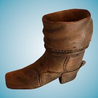 Hand Carved Wood Cowboy Boot