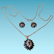 10K YG Sapphire & Diamonds Earrings & Pendant