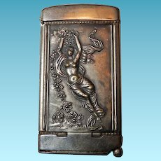 Art Nouveau Match Safe/Cigar Cutter With Nude