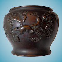 Japanese Bronze Vessel With Squirrel Kanji Script Mark