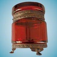 Antique Ruby Glass Casket Bronze Ormolu Trim