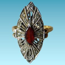 14K Edwardian/Deco Garnet & Diamond Cocktail Ring