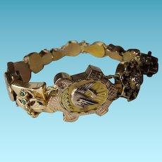 Victorian 14K Slide Bracelet With 12 Slides