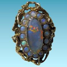 Vintage Black Opal 14K+ Ring