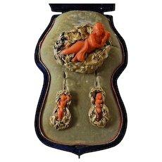 Museum Quality Carved Coral 15K Demi-Parure Art Nouveau