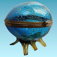 Victorian Art Glass Egg Dresser Jar Hand Enameled