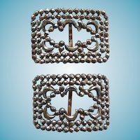 Pair Victorian Cut Steel Shoe Buckles