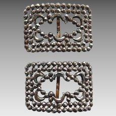 Pair Victorian Cut Steel Shoe Buckles