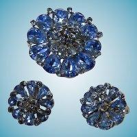 Vintage Signed WEISS Brooch & Earrings Set
