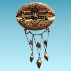 14K Victorian Brooch/Pin With Seed Pearl & Dangles