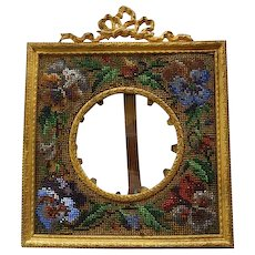 Antique French Gilded Bronze Beaded Needlepoint Mat Easel Back Picture Frame