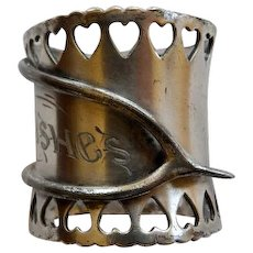 Victorian Silver Plate Wishbone Best Wishes Napkin Ring