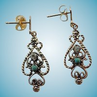Vintage 14K Filigree Earrings With Jade