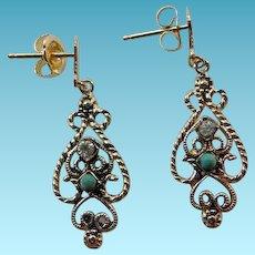 Vintage 14K Filigree Earrings With Jade