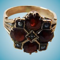 Antique Victorian 14K Garnet & Seed Pearl Ring