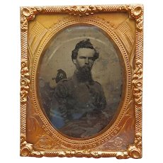 1/9TH Plate Civil War Soldier Ruby Ambrotype In Leather Case