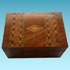 Antique English Walnut Inlaid Sewing Box