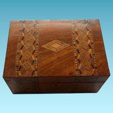 Antique English Walnut Inlaid Sewing Box