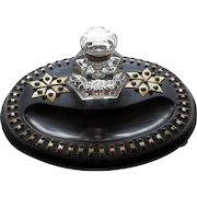 19th C English Ebonized Inkstand With MOP & Brass