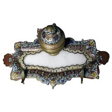 Antique French Champleve Inkstand With Alabaster