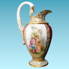 Antique Meissen Pitcher With Swan Handle