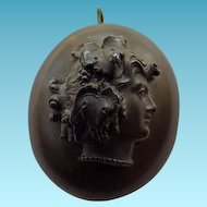 Antique Victorian Gutta Percha Locket -  Two Sided With Woman Cameo
