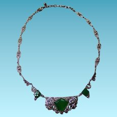 Art Deco Sterling Chrysoprase and  Marcasite German Necklace
