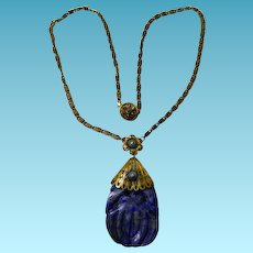 Early 20th Century Carved Lapis Necklace