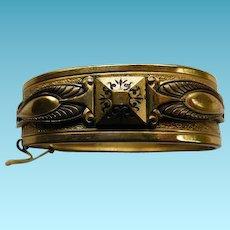 Victorian Hinged Bangle Bracelet With Black Enamel